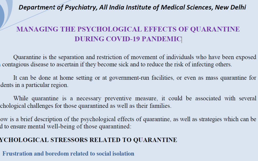 Managing the Psychological Effects of Quarantine during COVID-19 Pandemic