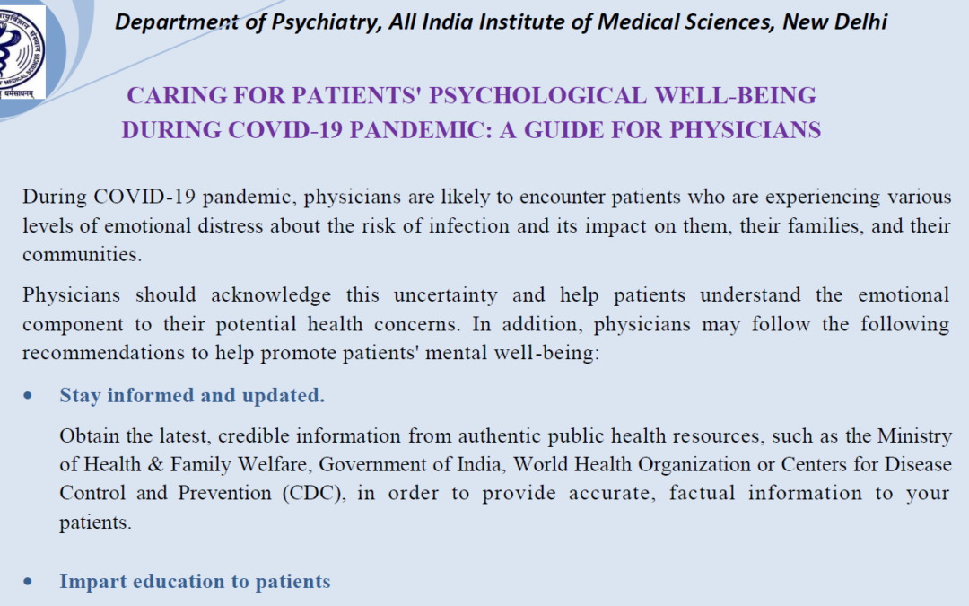 Guide for Physicians on Mental Health in COVID 19