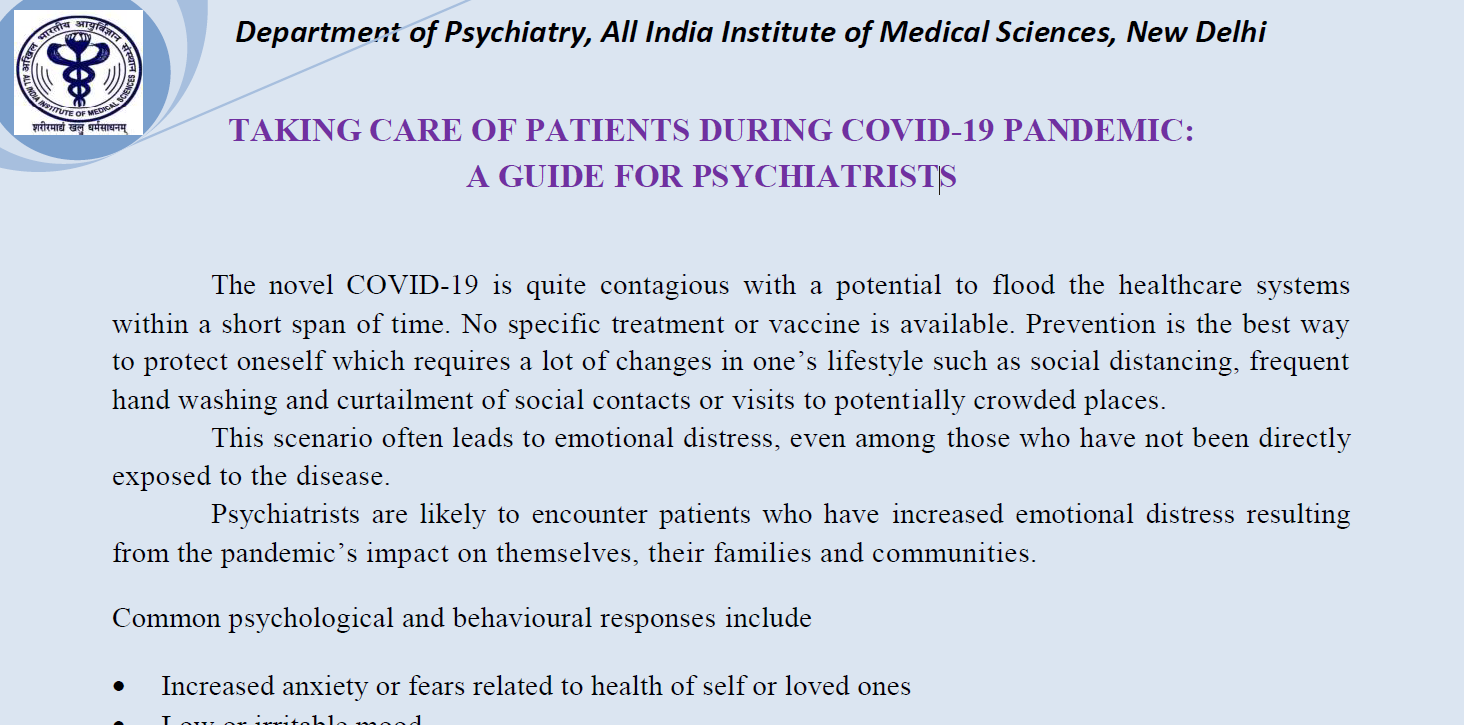 Guide for Psychiatrists during  COVID 19