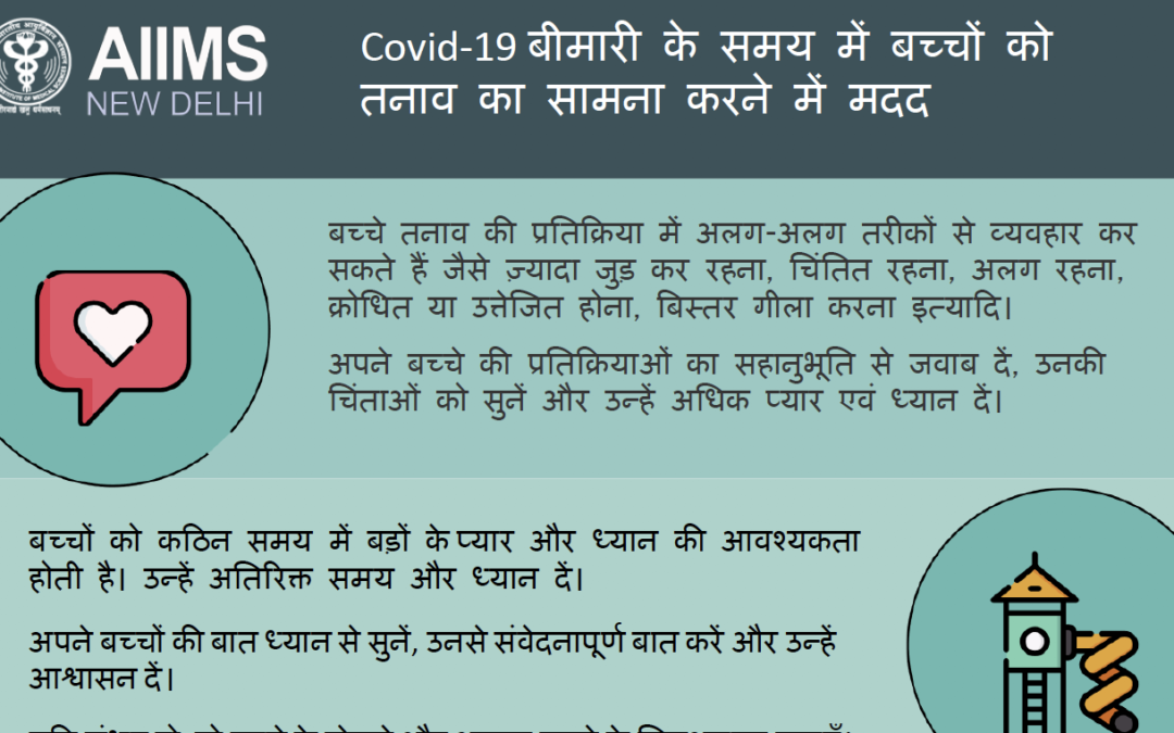 Managing Stress due to COVID 19 among Children – Indian Language posters