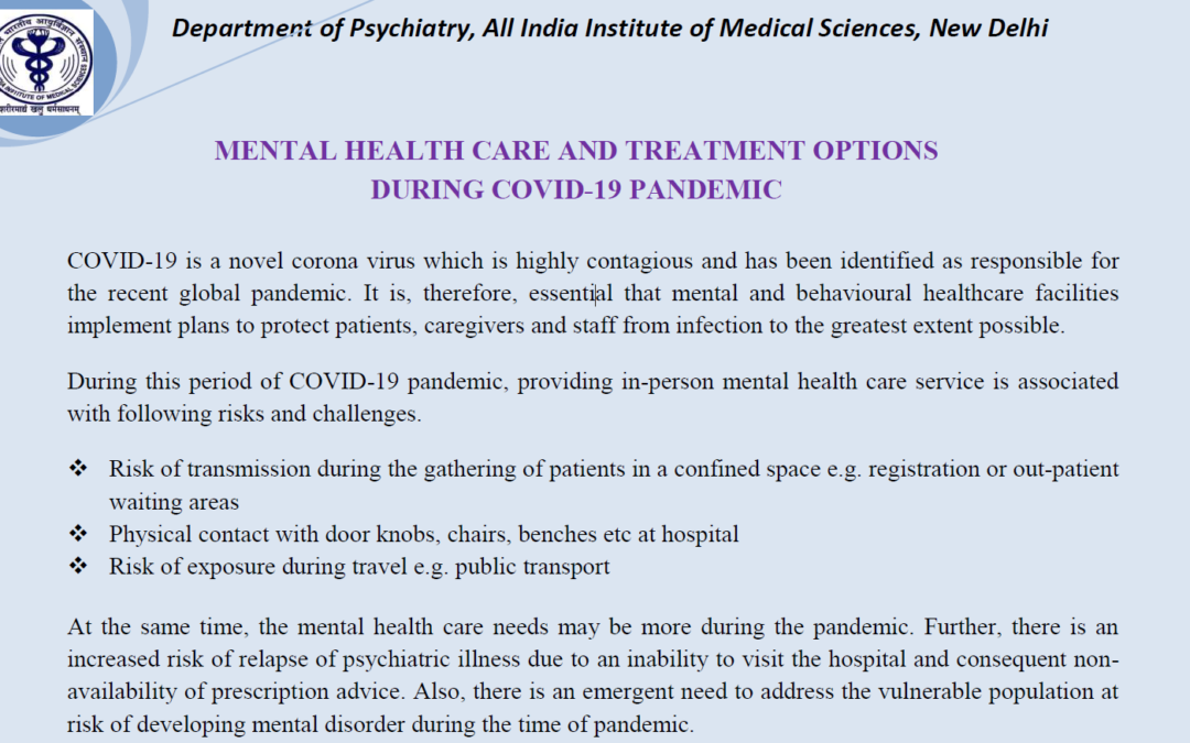 Telemedicine and Other Mental Health Services for Persons with mental health problems